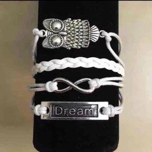 3/$15 ** Dream infinity owl white bracelet NWOT